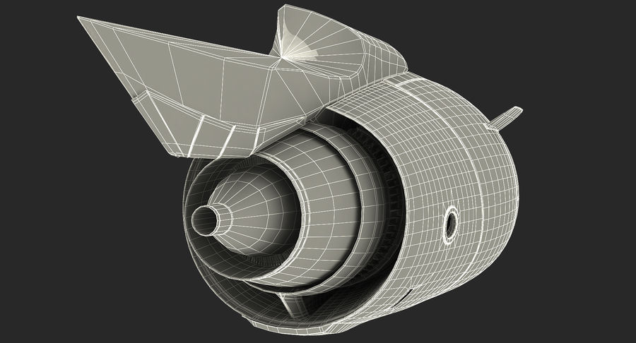 Aircraft Jet Turbofan Engine royalty-free 3d model - Preview no. 21