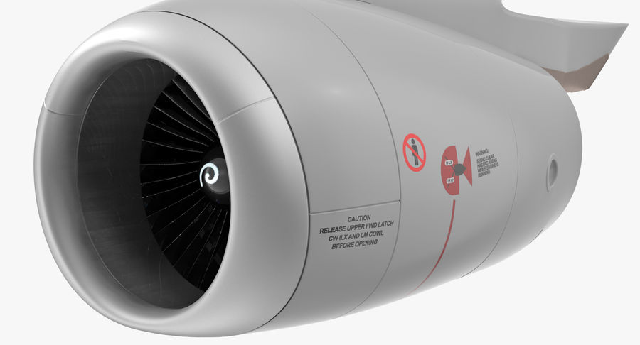 Motor de Turbofan de jatos de aeronaves royalty-free 3d model - Preview no. 6