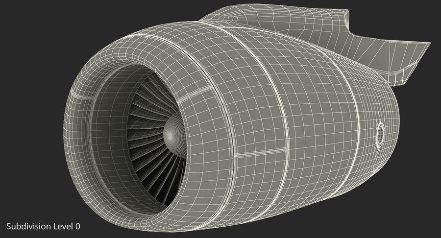 Aircraft Jet Turbofan Engine royalty-free 3d model - Preview no. 14