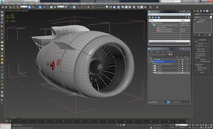 Motor de Turbofan de jatos de aeronaves royalty-free 3d model - Preview no. 20