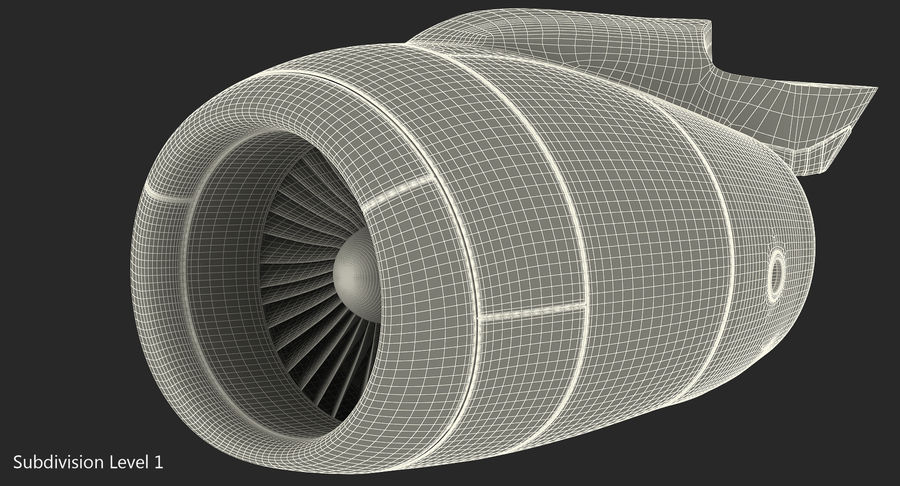 Motor de Turbofan de jatos de aeronaves royalty-free 3d model - Preview no. 15