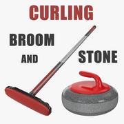 Curling Süpürgesi ve Taş Koleksiyonu 3d model