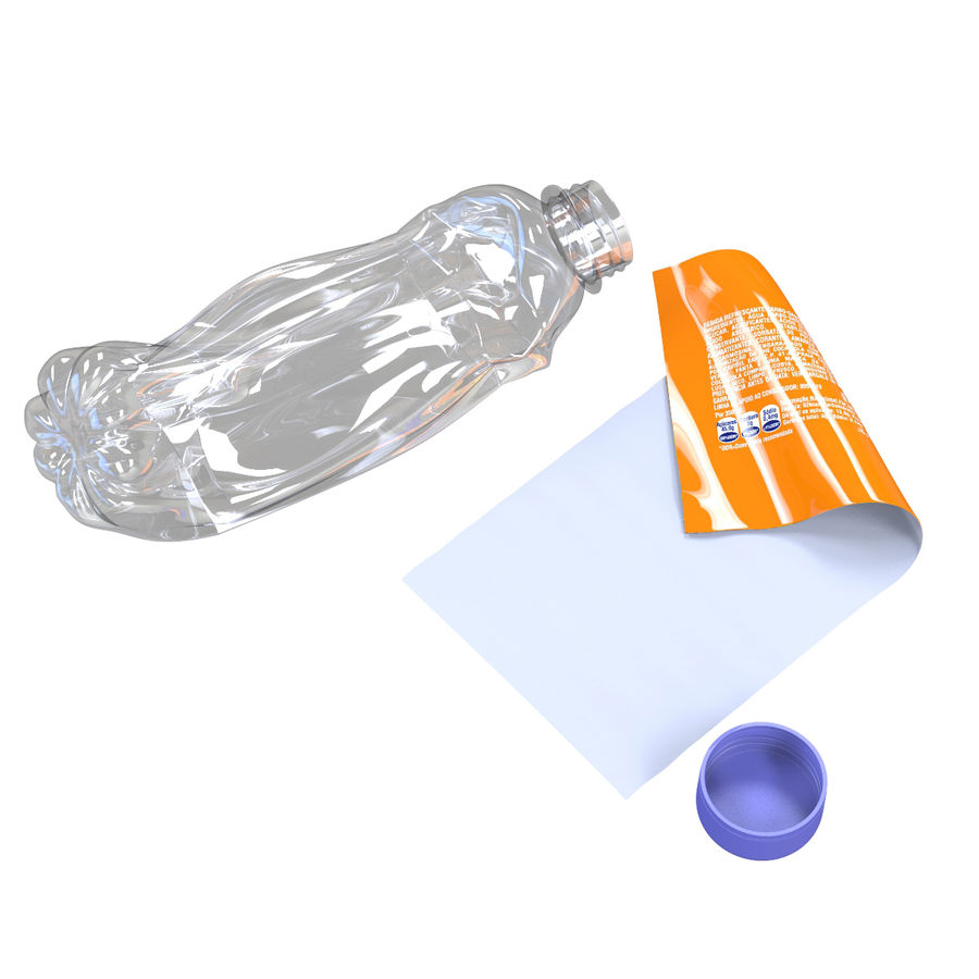 Plastic Bottle Crushed royalty-free 3d model - Preview no. 7