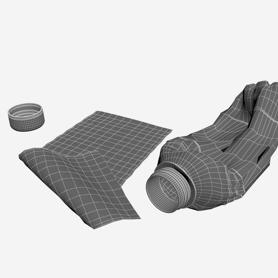 Plastic Bottle Crushed royalty-free 3d model - Preview no. 11