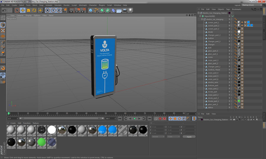 Electric Car Charging Station royalty-free 3d model - Preview no. 11