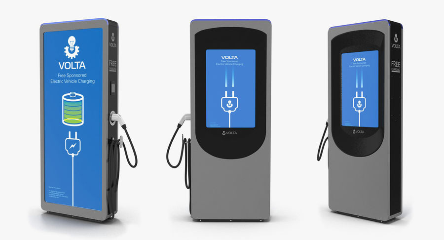 Electric Car Charging Station royalty-free 3d model - Preview no. 3