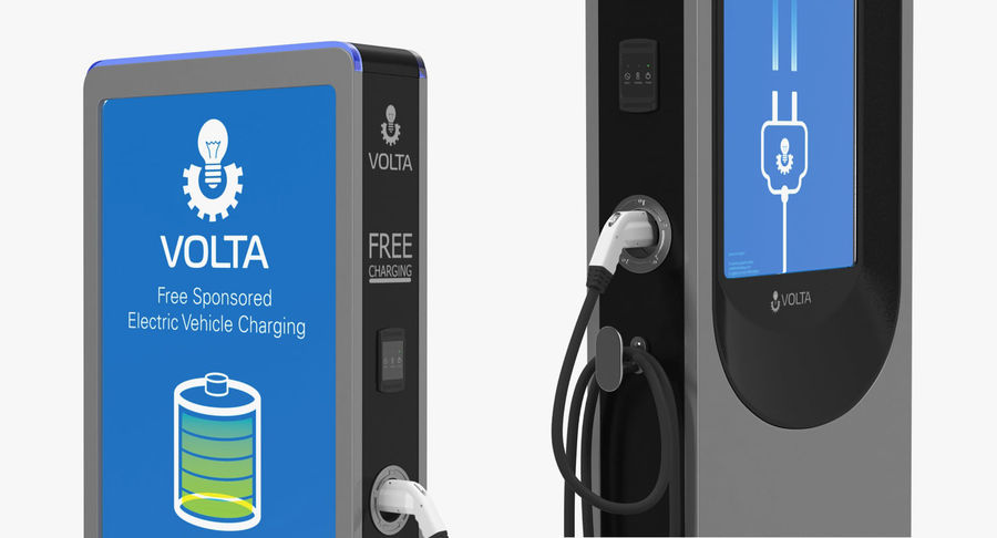 Electric Car Charging Station royalty-free 3d model - Preview no. 5