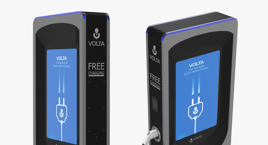 Electric Car Charging Station royalty-free 3d model - Preview no. 4