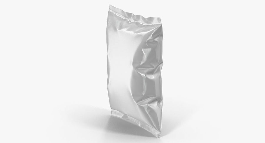 White Blank Plastic foil Food Package royalty-free 3d model - Preview no. 6