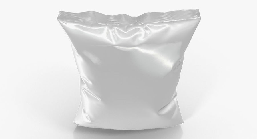 White Blank Plastic foil Food Package royalty-free 3d model - Preview no. 8