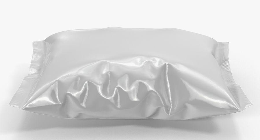 White Blank Plastic foil Food Package royalty-free 3d model - Preview no. 4