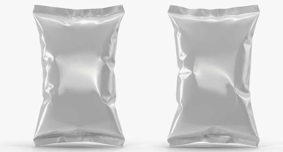 White Blank Plastic foil Food Package royalty-free 3d model - Preview no. 10