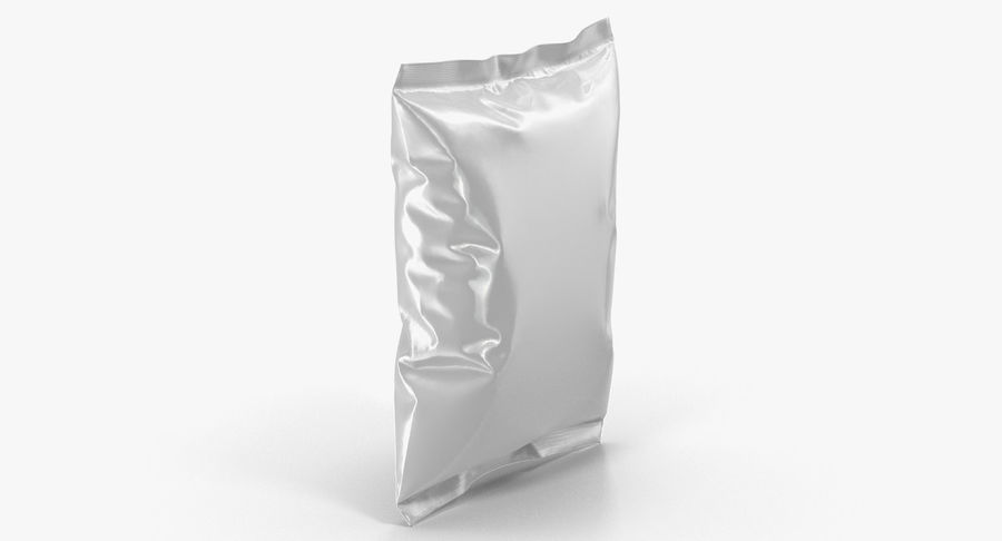 White Blank Plastic foil Food Package royalty-free 3d model - Preview no. 5