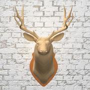 木製の鹿の頭 3d model