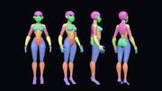 Malla base femenina estilizada modelo 3d