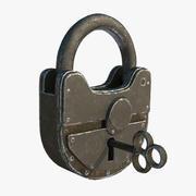 Gammalt hänglås med nyckel 3d model