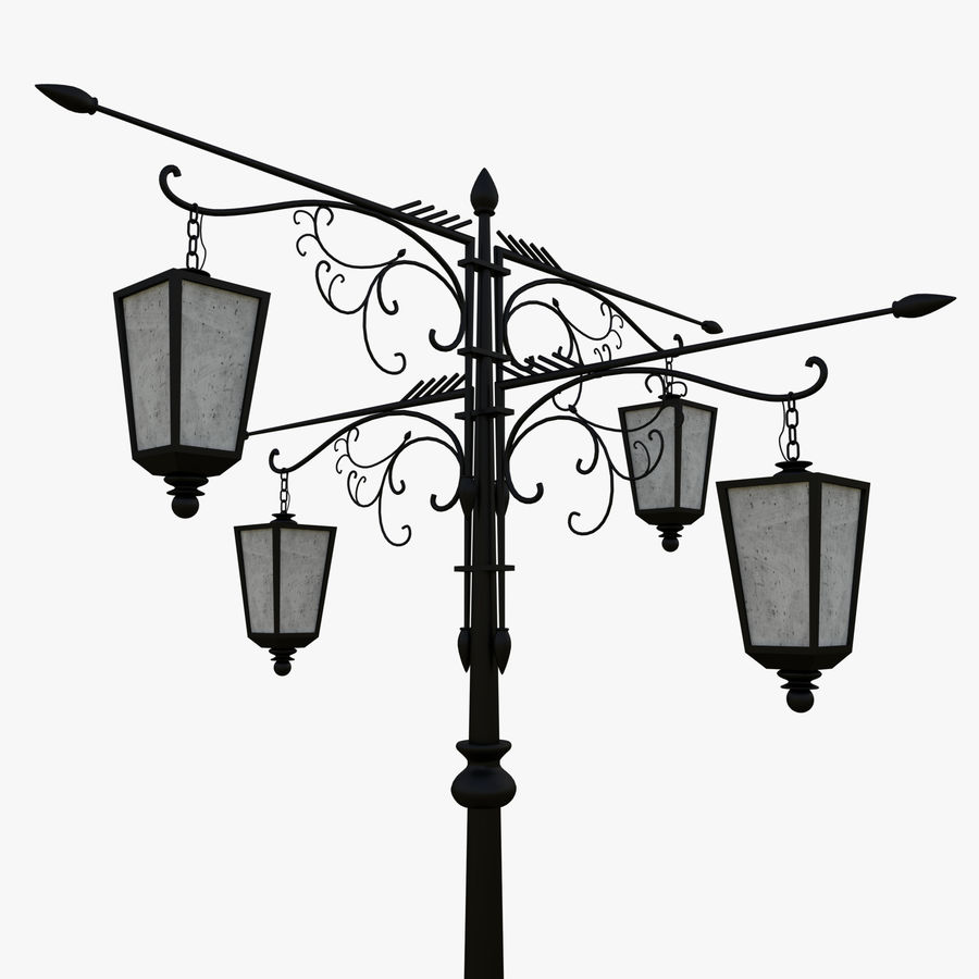 Vintage Lampa uliczna royalty-free 3d model - Preview no. 2