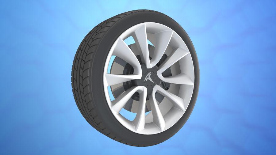 Car tesla model 3 wheel royalty-free 3d model - Preview no. 4
