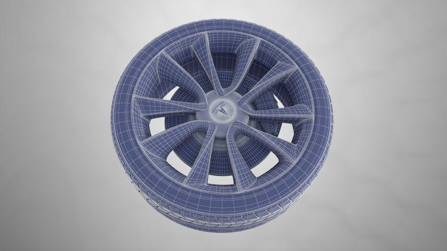 Car tesla model 3 wheel royalty-free 3d model - Preview no. 8
