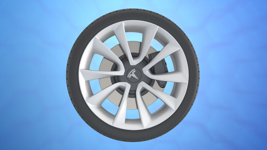 Car tesla model 3 wheel royalty-free 3d model - Preview no. 5
