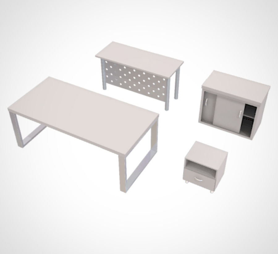 Minimalist Table and Cabinet royalty-free 3d model - Preview no. 1