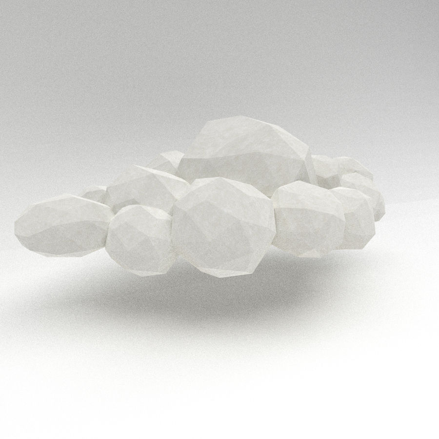 Nuage blanc bas poly royalty-free 3d model - Preview no. 2