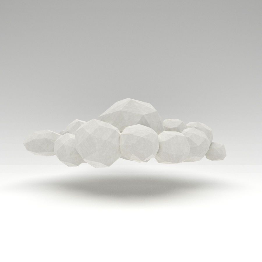 Nuage blanc bas poly royalty-free 3d model - Preview no. 1