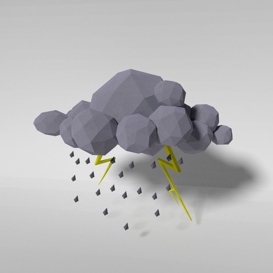 Nuage blanc bas poly - tempête royalty-free 3d model - Preview no. 1