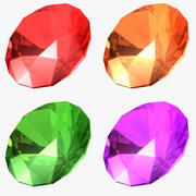 Set de gemas de corte redondo modelo 3d