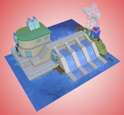 Cartoon drawn dam 3d model