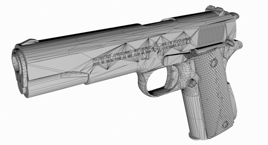 1/4 Scale Colt 1911 royalty-free 3d model - Preview no. 5