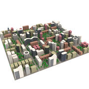 cityscape district cartoon town low poly 3d model