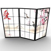 日式房间隔板 3d model