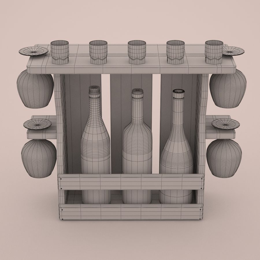 Wine rack royalty-free 3d model - Preview no. 6
