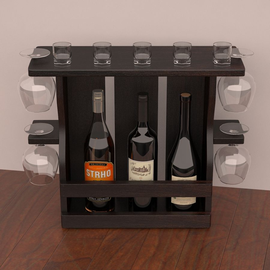 Wine rack royalty-free 3d model - Preview no. 3
