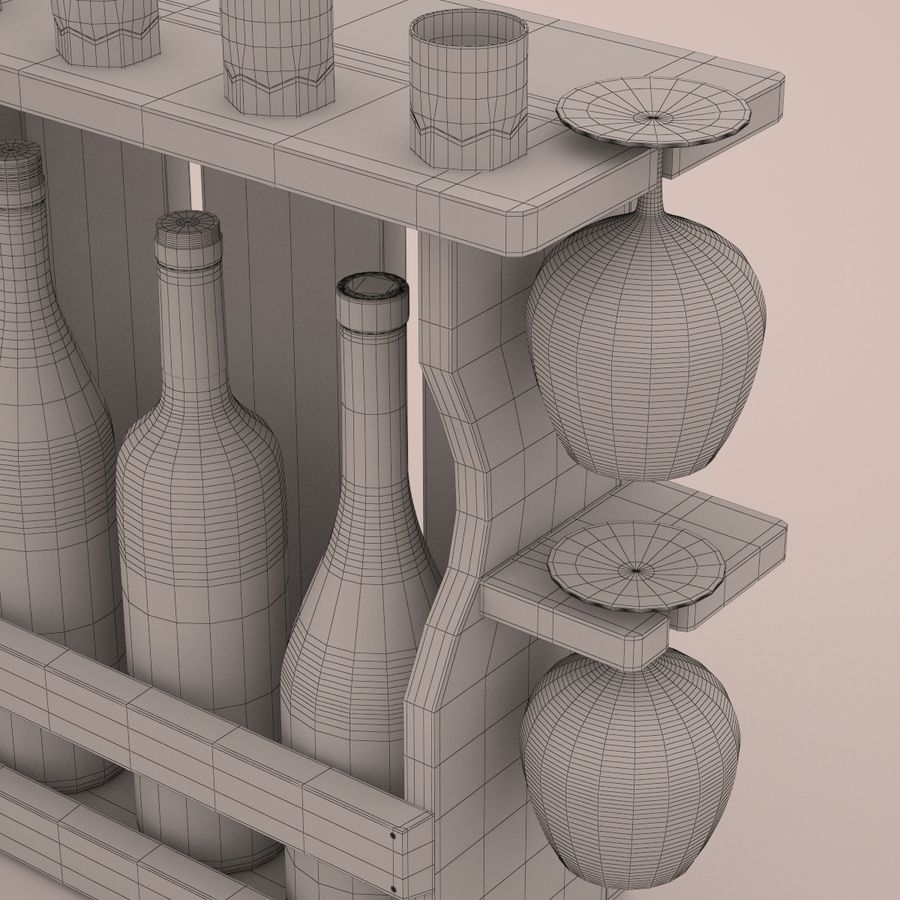 Wine rack royalty-free 3d model - Preview no. 7