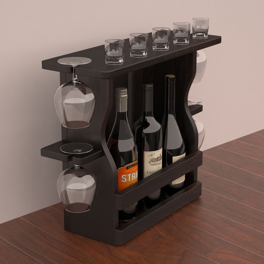 Wine rack royalty-free 3d model - Preview no. 4