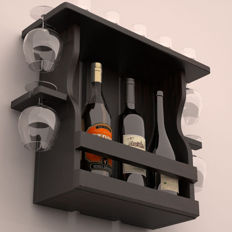 Wine rack royalty-free 3d model - Preview no. 2