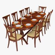带有十把椅子,盘子,叉子,刀和餐巾的用餐区 3d model