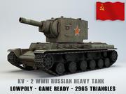 KV II Ussr Heavy Tank Lowpoly 3d model