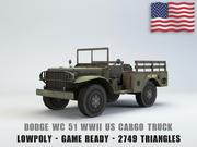 Dodge WC 51 USA Truck Lowpoly 3D 모델 3d model