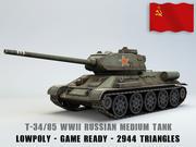 T-34/85 SSCB Orta Tank Lowpoly modeli 3d model