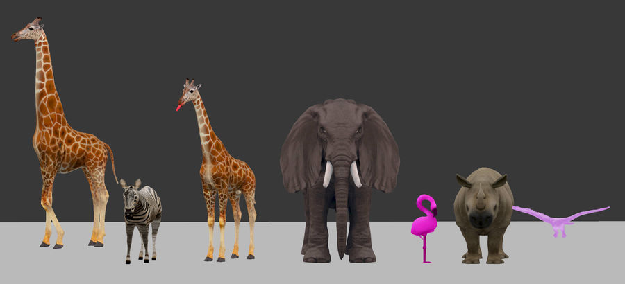 africa animals royalty-free 3d model - Preview no. 2