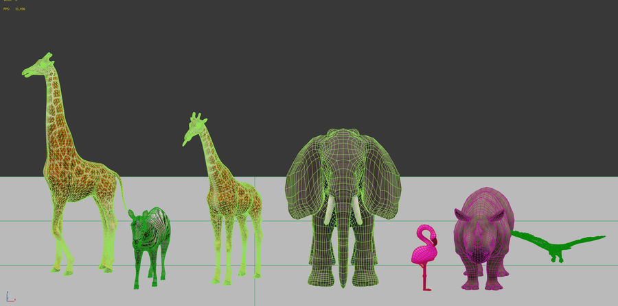 africa animals royalty-free 3d model - Preview no. 6