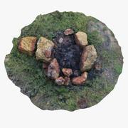 Cheminée avec pierres 3d model