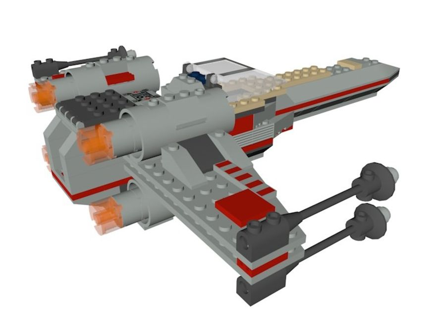 Combattant X-Wing LEGO Star Wars royalty-free 3d model - Preview no. 3