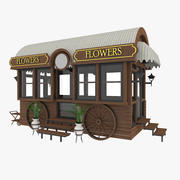 Flowers Boutique. Van Wagon 3d model