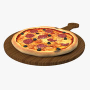 Pizza au pepperoni et aux olives 3d model
