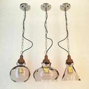 유리 및 목재 램프 3d model