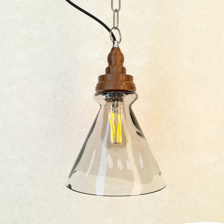 Glas & Holz Lampe royalty-free 3d model - Preview no. 5